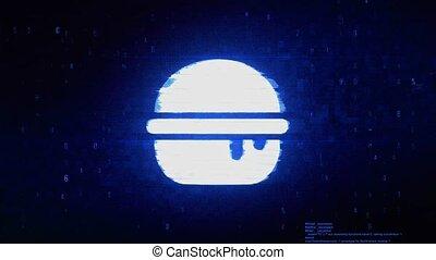 Burger, cheeseburger, fast junk food Symbol Abstract Digital Pixel Noise Glitch Error Video Damage Signal Loop 4K Animation.
