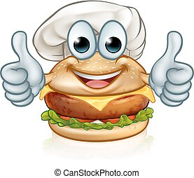 Burger Chef Food Cartoon Character Mascot