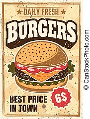 Burger colored advertising vintage vector poster
