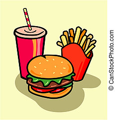 burger, combo, med, fräsa, och, soda
