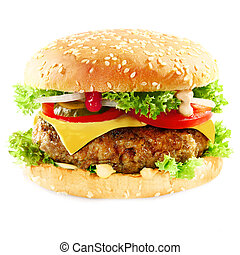 Burger containing meat topped with cheese on white -...