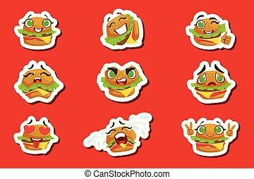 Burger Cute Emoji Stickers Set