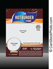 Burger Flyer Template Vector
