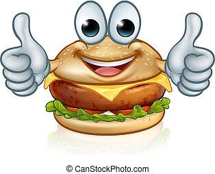 Burger Food Cartoon Character Mascot