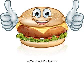Burger Food Mascot Cartoon Character