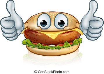Burger Food Thumbs Up Cartoon Character Mascot