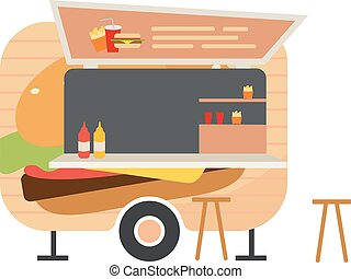 Burger food truck flat vector illustration. Street food wagon. Ready takeaway meal vehicle. Outdoor picnic. Trailer for selling hamburgers. Fast food van isolated on white background