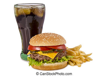 Burger, french fries and cola - Double cheeseburger, french ...