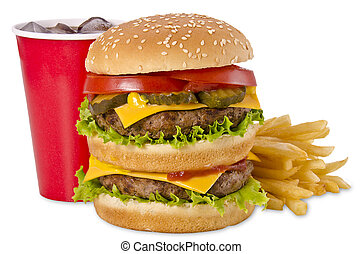 Burger, french fries and cola