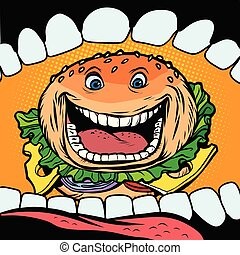 Burger goes in mouth. fast food. Comic cartoon pop art retro vector illustration hand drawing