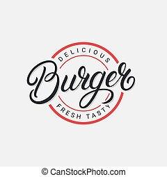 Burger hand written lettering logo