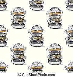 burger, hatalmas, seamless, motívum