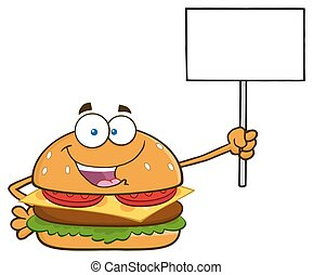 Burger Holding A Blank Sign
