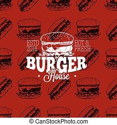 Burger house logo on seamless pattern fast food, vector illustration