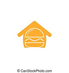 Burger house vector logo design. American classic burger house logo.