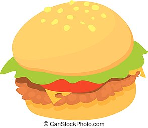 Burger icon, cartoon style