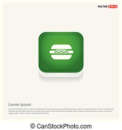 Burger icon Green Web Button