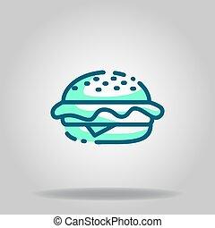 burger icon or logo in  twotone - Logo or symbol of burger ...