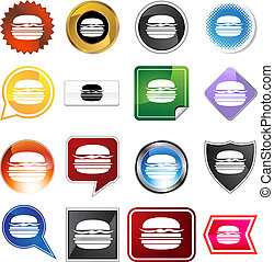burger icon set isolated on a white background.