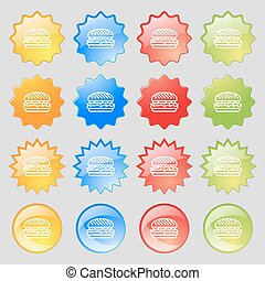 Burger icon sign. Big set of 16 colorful modern buttons for your design. Vector