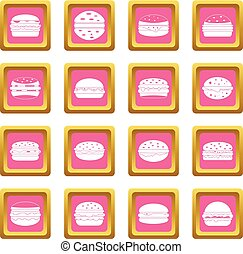 Burger icons pink