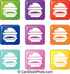 Burger icons set 9 color collection