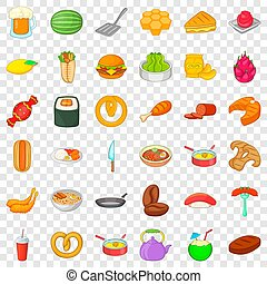 Burger icons set, cartoon style