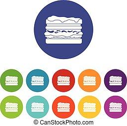 Burger icons set vector color