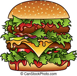 Detailed illustration of a tasty burger that has got it all.