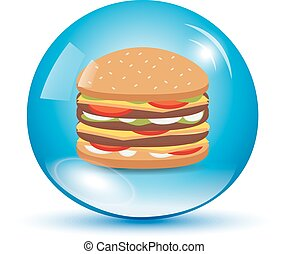 Burger in a water drop
