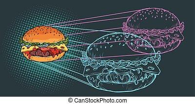 Burger ingredients, fast food restaurant