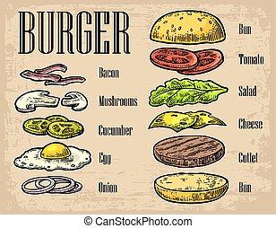 Burger ingredients on black background.