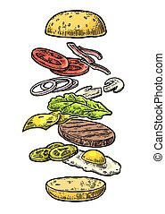 Burger ingredients on white background.