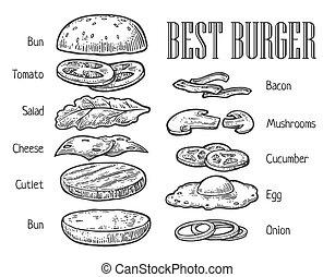 Burger ingredients. Vector vintage engraving illustration for poster, menu, web, banner, info graphic