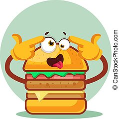 Burger is feeling crazy, illustration, vector on white background.