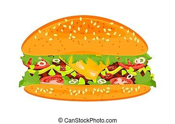 Burger isolated on white background.