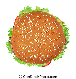 burger isolated on white background. Top view
