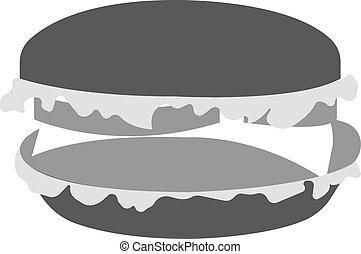 Burger isolated on white background. Vector black and white illustration.