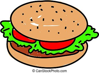 burger isolated on white drawn in toddler art style