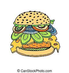 burger., juteux, délicieux