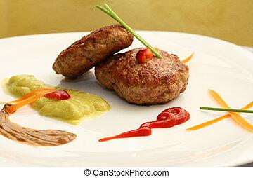 burger, képben látható, tányér