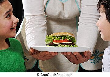 burger, klar, för, barn, av, mamma