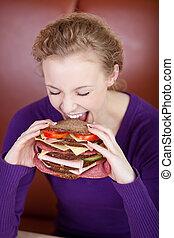 burger, kvinna, stor, bitande