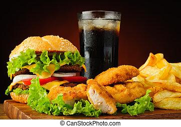burger, kylling guldklumper, fransk steger, og, coladrik, drink