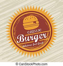 burger label over grunge background. vector illustration