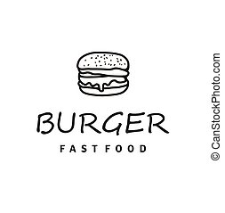 Burger logo design with Hipster Line Art Drawing style