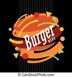 Burger made from geometric shapes. Creative artistic...
