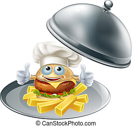 Burger mascot and chips on platter