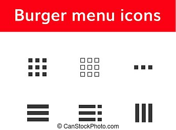 burger menu icons set