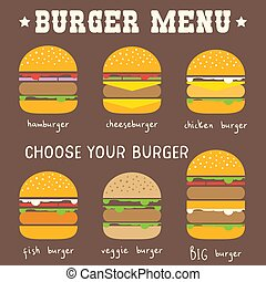 Burger Menu in Flat Infographic Style. Types of Hamburgers. Vector Illustration.